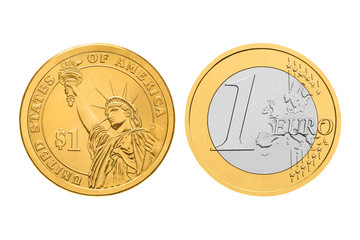 One dollar and one euro coins