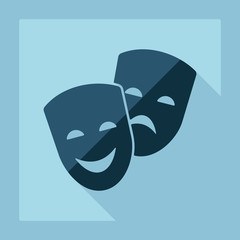 Flat modern design with shadow comedy and tragedy masks