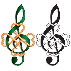 Treble Clef Celtic Knot Irish Music Musical motif for Irish or St Patrick's Day themes