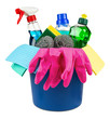 household cleaners and equipment in bucket isolated on white background