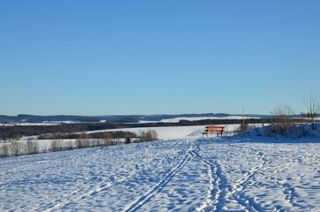 Photo sur Aluminium Pôle Holzbank in winterlicher Hügellandschaft