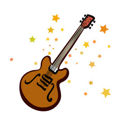 Silhouette of electrical guitar with stars