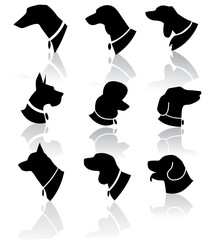Dog Head Silhouette Icon Set