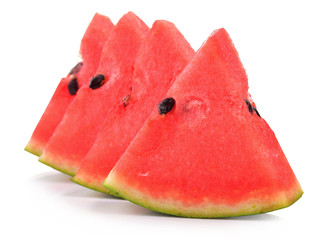 water melon sliced on white back ground in selected focus