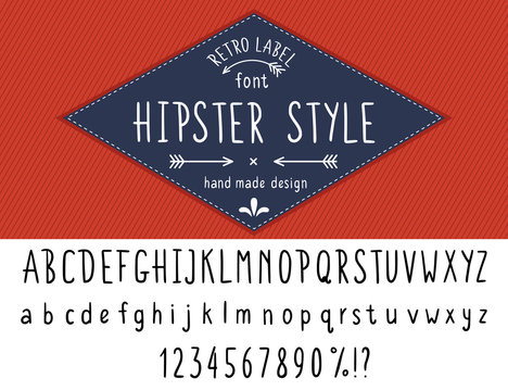 Hipster style font hand made slim line design. Latin black typeface uppercase and nubers isolated on white with blue retro label on red stripped background