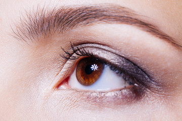 Beautiful woman's brown eye close up