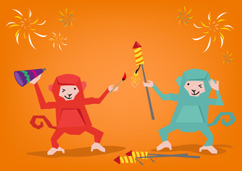 Two Monkeys Lights Up a Fireworks Rocket to Celebrate a Holiday. Editable Clip Art.  Editable Clip Art.