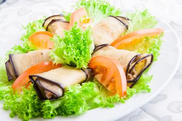 Eggplant rolls with walnuts