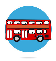 Illustration of a red bus with blue circle background