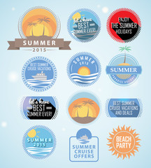 Set of flat style summer related badges. EPS10.