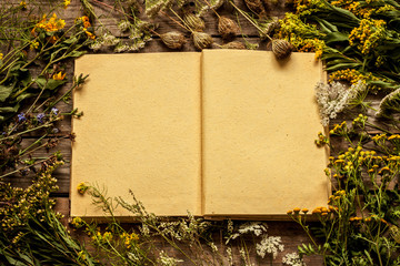 Blank opened book with late summer natural meadow flowers and plants around. Layout with free text space, captured from above. Vintage wooden background, nature elements - rustic style.