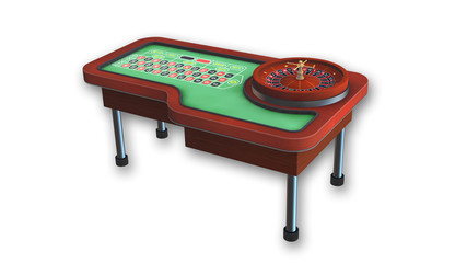Roulette Table isolated on white background, gambling equipment