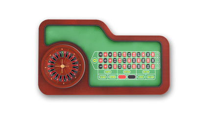 Roulette Table isolated on white background, top view