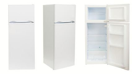 Fridge in three positions, isolated.