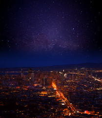 Fototapete - Night sky over San Francisco downtown