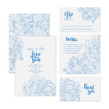 Beautiful wedding set with detailed creative marine ornament and hand lettering. It includes save the date, RSVP, menu and thank you cards.