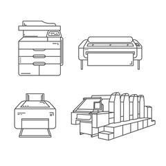 Set of line illustrations of printers. Includes large format ink-jet printer, offset printer, ink-jet photo printer and laser printer.