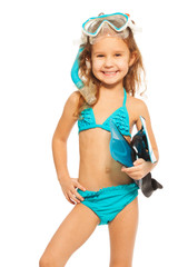 A girl in swimwear with flippers and diving mask