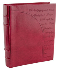Red leather book on wite backround