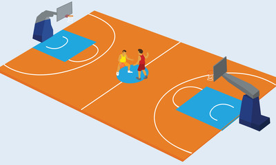 basketball court arena match game basket player