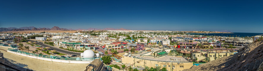 Panorama of white city and the blue sea, Egypt.