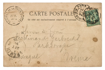 Vintage handwritten postcard letter. Used paper texture