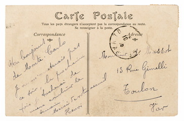 Vintage handwritten postcard mail. Used paper texture