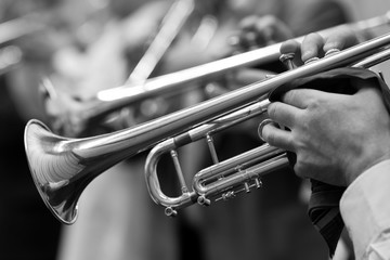 The trumpet in the hands of the musician closeup in black and white