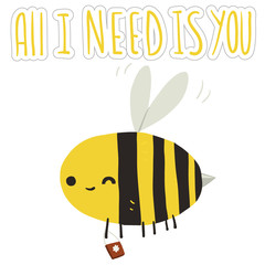All I need is you bee postcard.