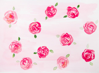 red roses on a pink background watercolor