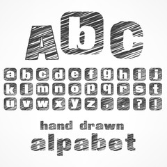 a b c alphabet sketch letters in grey, illustration