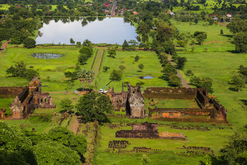 View of Vat Phou or Wat Phu is the UNESCO world heritage site in Southern Laos