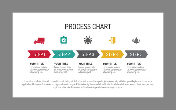 Five step process arrow chart