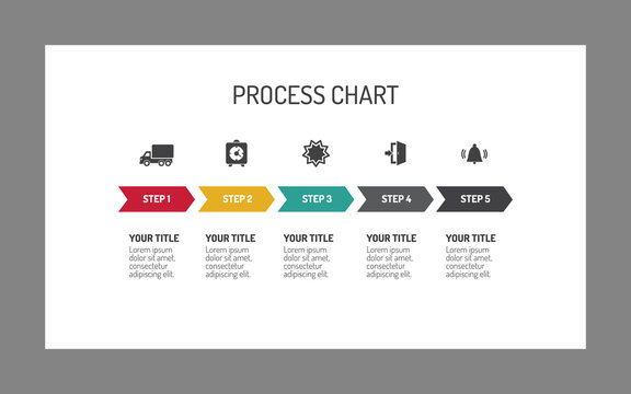 Five-step process arrow chart