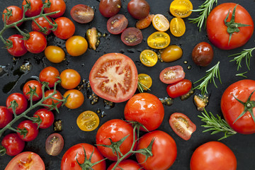 Tomato Varieties on Black Overhead View