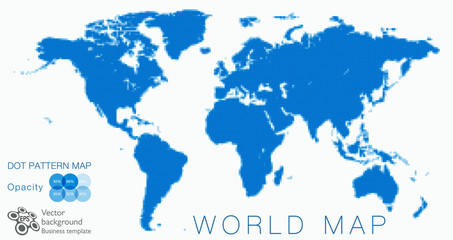 World Map #Vector Illustration, Blue Dot Pattern