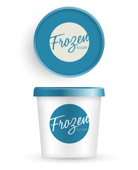 Plastic Bucket : Ice cream or Yogurt Container : Vector Illustration