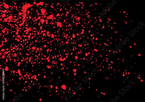 Vector Splatter Of Blood In Red Color On Black Background Bloody