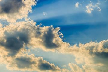Sunlight with cloud on blue sky