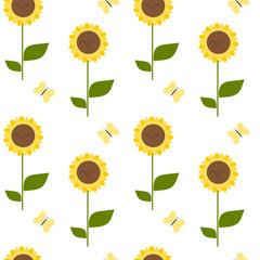 cute cartoon sunflower seamless vector pattern background illustration