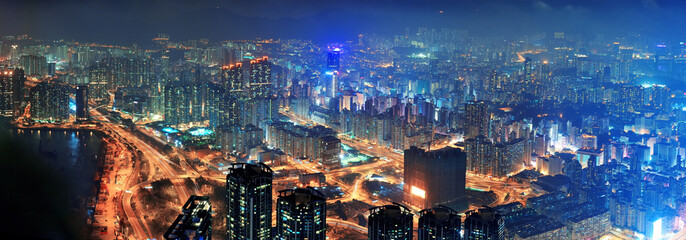Wall Mural - Hong Kong aerial night