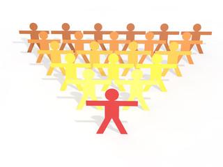 3d Men stick figures leadership concept
