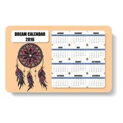 color horizontal calendar  of dream catcher with feathers