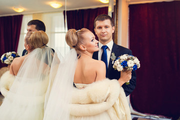 bride and groom portrait in the hotel luxury room