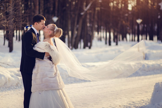 Lovers bride and groom in winter day outdoors with copy space