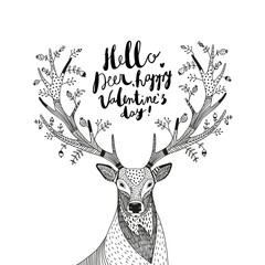 hand drawn vector illustration with a deer and text Hello Deer..