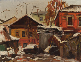 House in winter city. Oil painting