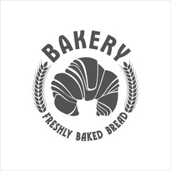 Bakery, monochrome vector retro logo with a croissant.