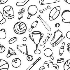 Doodle pattern of sport