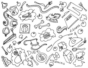 Doodle vector set of diet